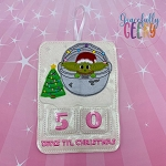 Baby Alien Countdown to Christmas Embroidery Design