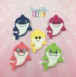 Shark Family finger puppet set - Embroidery Design