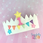 Birthday Crown Embroidery Design - 5x7 Hoop or Larger