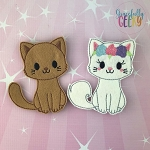 Cat Couple finger puppet set - Embroidery Design