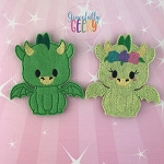 Dragon Couple finger puppet set - Embroidery Design