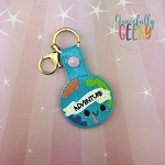 Earth Adventure Snap Keychain ITH Embroidery Design - 5x7 Hoop or Larger