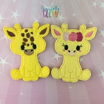 Giraffe Couple finger puppet set - Embroidery Design