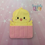 Kawaii Chick Crayon Holder Embroidery Design - 5x7 Hoop or Larger