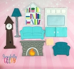 Living Room Set  Dress Up Dolls- Embroidery Design 5x7 hoop or larger