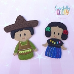 Mexico Children finger puppet set - Embroidery Design