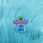 I Need Space UFO Feltie ITH Embroidery Design 4x4 hoop (and larger)
