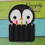 Penguin Crayon Holder Embroidery Design - 5x7 Hoop or Larger
