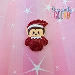 Kawaii Red Elf Christmas Feltie ITH Embroidery Design 4x4 hoop (and larger)