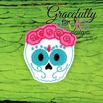 Rose Sugarskull Feltie ITH Embroidery Design 4x4 hoop (and larger)