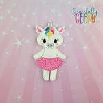 Unicorn Ballerina Flat Doll (Clothes Attached) - Embroidery Design 5x7 hoop or larger