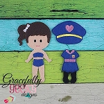 Police Girl Dress up Doll - Embroidery Design 5x7 hoop or larger **OUTFIT ONLY