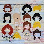 Bald Doll Set - Embroidery Design 5x7 hoop or larger