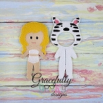Zebra Outfit  Dress up Outfit (OUTFIT ONLY)- to fit GGD Dress up dolls - Embroidery Design 5x7 hoop or larger