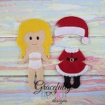 Santa Girl Outfit  Dress up Outfit (OUTFIT ONLY)- to fit GGD GIRL Dress up dolls - Embroidery Design 5x7 hoop or larger